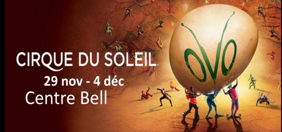 au Centre Bell  du 29 novembre au 4 décembre 2016   Le Cirque du Soleil présente OVO   Plongez tête première dans un nouvel écosystème OVO nous plonge dans l'univers des insectes qui travaillent, jouent, luttent et se courtisent dans une perpétuelle  expl